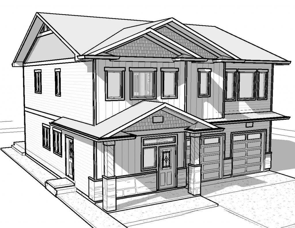Как нарисовать двухэтажный дом карандашом