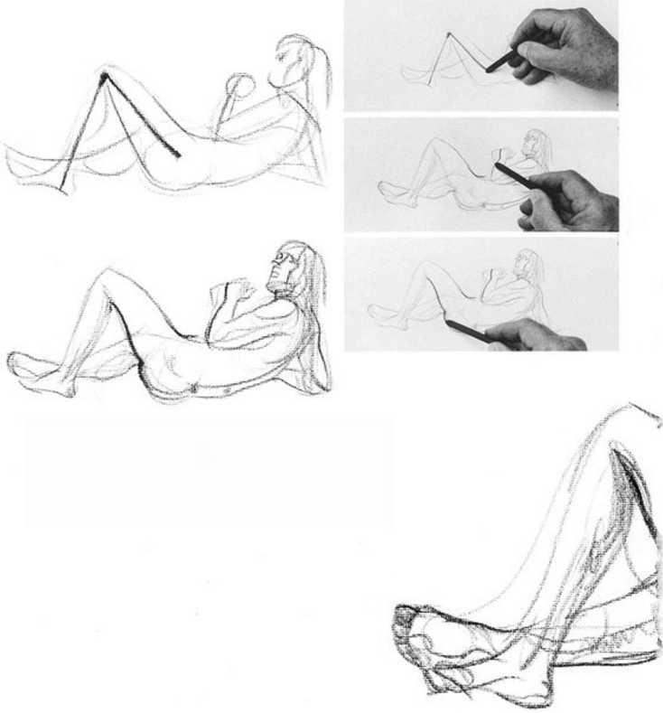 Как нарисовать человека лежа на спине или животе поэтапно карандашом